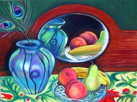 Still life with peacock feathers by Gayle Bell