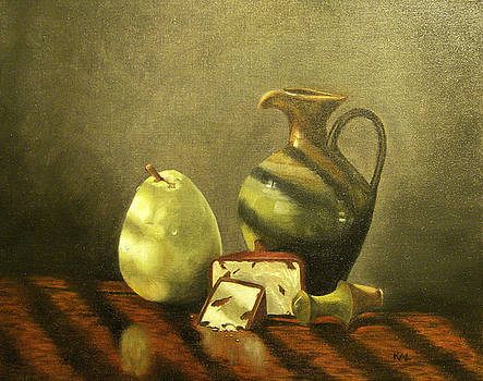 Still Life with Pear and Cheese by Kathy Lumsden