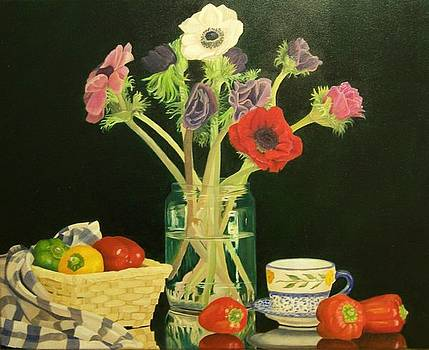 Still Life with Peppers Flowers and a Basket by Kathy Lumsden