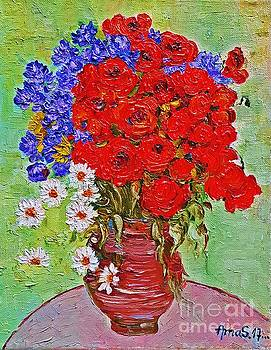Still life with poppies and blue flowers by Amalia Suruceanu