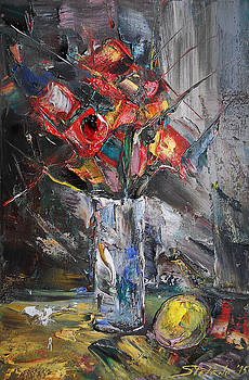 Still Life with Red Flowers and lemon by Stefano Popovski