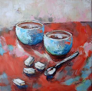 Still Life With Teacups by Cathy MONNIER