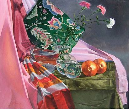 Still Life With Three Carnations by David Johnson