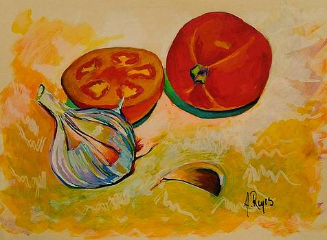 Still Life With Tomatoes And Garlic by Angel Reyes