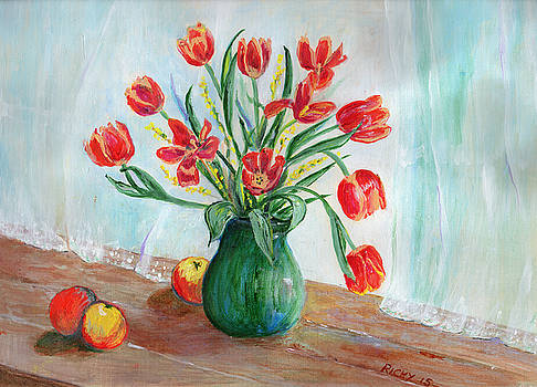 Still Life with Tulips and Apples - painting by Veronica Rickard