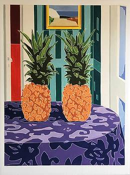 Still Life With Two Pineapples  by Varvara Stylidou