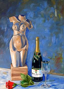 Still Life with Unopened Champagne by RB McGrath