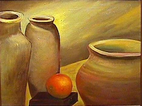 Still life with Vases and orange by Janine Shideler