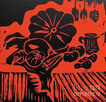 Caroline Street - Still Life with Veg and Utensils Black on Red