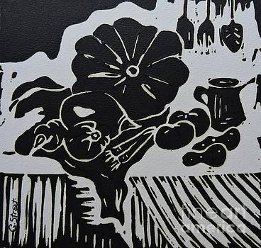 Caroline Street - Still-life with Veg and Utensils Black on White