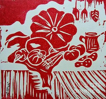 Caroline Street - Still Life with Veg and Utensils Red on White
