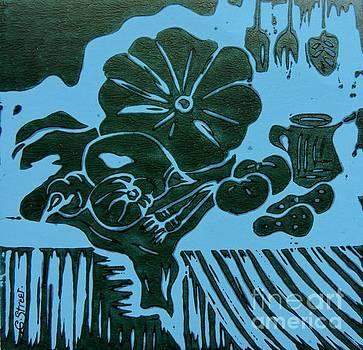 Caroline Street - Still-life with Veg and Utensils Green on Blue