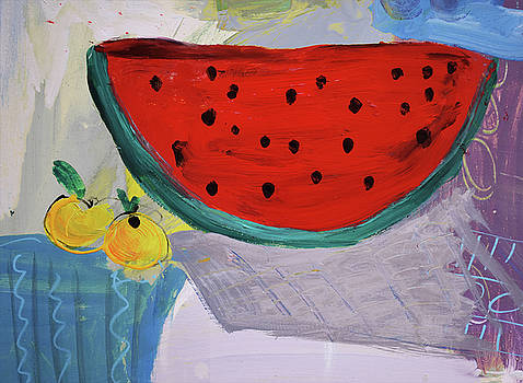 Still life with watermelon and two lemons by Amara Dacer