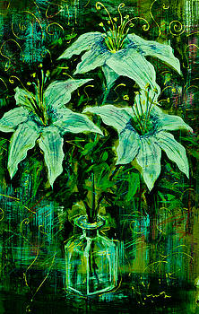 Still life with white lilies in green by Maxim Komissarchik