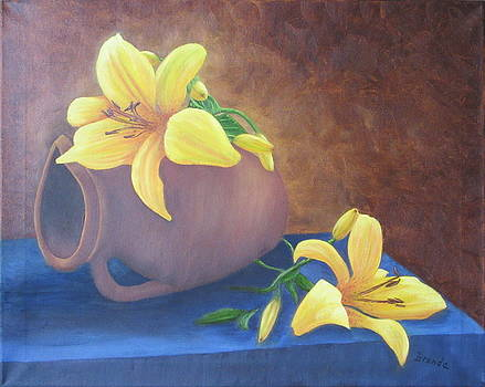 Still Life With Yellow Lilies by Brenda Maas