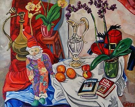 Stillleben mit Harlekin Vase Orchideen und Lektuere by Matthias Laurenz Graeff