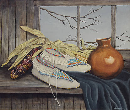 Stilllife Moccasins and Corn by Ann Arensmeyer