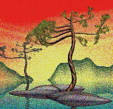 Stippling geometric pine 4 by GuoJun Pan