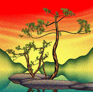 Stippling geometric pine by GuoJun Pan