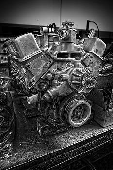 Stock Car Race Engine on Bench in BW by YoPedro
