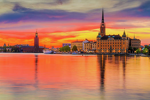 Stockholm fiery sunset reflection by Dejan Kostic