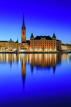 Stockholm Riddarholmen blue hour reflection by Dejan Kostic