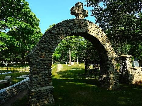 Stone Cemetery Gate Catholic Cemetery Mackinac Island Michigan by Mikel Classen