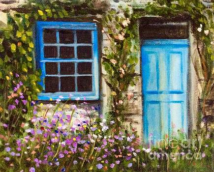 Stone cottage and wildflowers by Hilary England