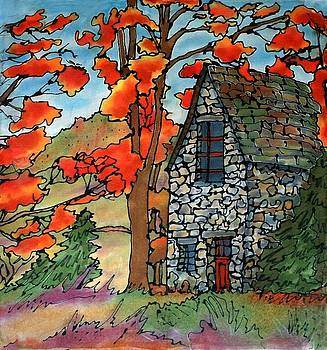 Stone Cottage Silk Painting by Linda Marcille