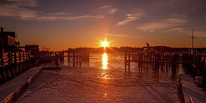 Stonington Harbor Sunset on Ice by Kirkodd Photography Of New England