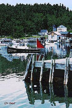 Stonington Harbor with Pier Maine Coast by Ed A Gage