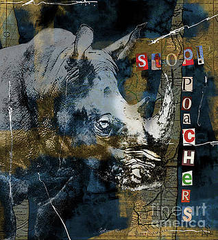 Stop Rhino Poachers Wildlife Conservation Art by Nola Lee Kelsey