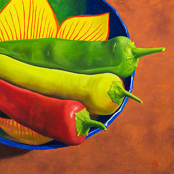 Stoplight Peppers by Xenia Sease