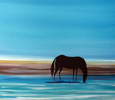 Stopping For A Drink - horse beach by Debbie Criswell