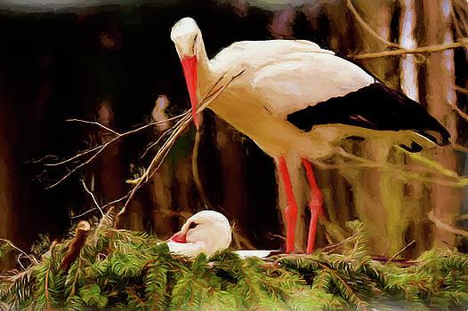 Stork Nest Building - Painting by Ericamaxine Price
