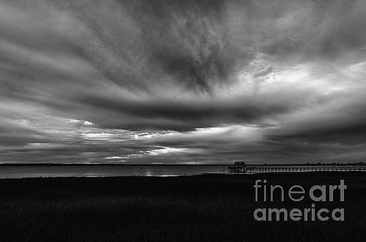 Storm Clouds over Charleston Harbor in Black and White by Dale Powell