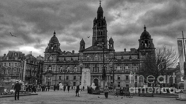 Storm Clouds Over George Square In Monochrome by Joan-Violet Stretch