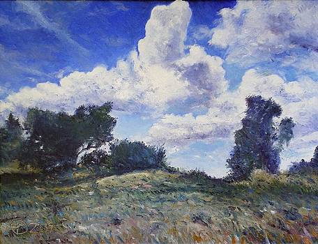 Storm clouds over Monte Cardeto Lazio Italy 2009 by Enver Larney
