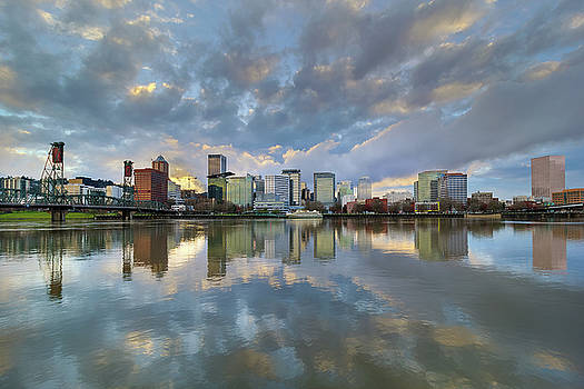 Storm Clouds over Portland Skyline during Sunset by David Gn