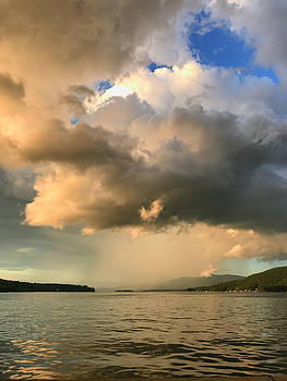 Storm Clouds Over Adirondack Mountains in Lake George New York by Linda Ouellette