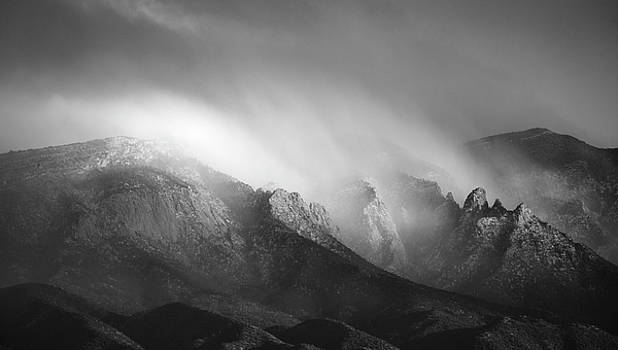 Storm Over the Sandias in Black and White by Mary Lee Dereske