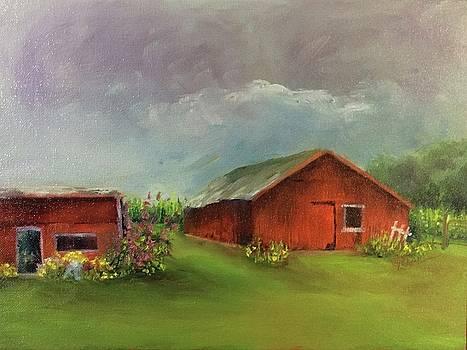 Storm Overhead/Little Maders Farm by Donna Pierce-Clark