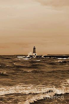 Ms Judi - Storm Sandy Effects Menominee Lighthouse Sepia