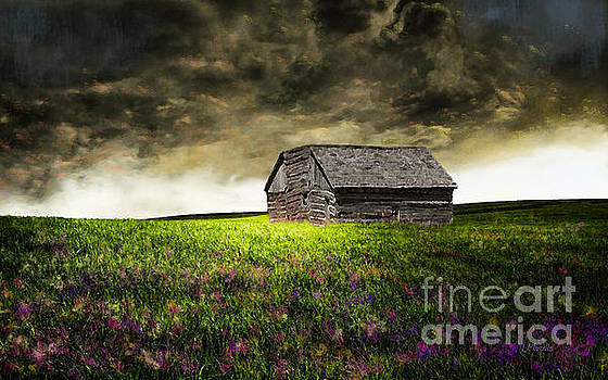 Storm Skies Over The Barn by J Marielle