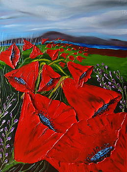 Stormy Day Red Tulips by Portland Art Creations