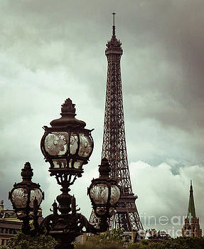 Stormy Eiffel Tower with Lamppost  by Marina McLain