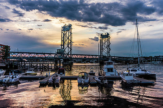 Stormy Memorial Bridge Sunset From Prescott Park  by Devin LaBrie