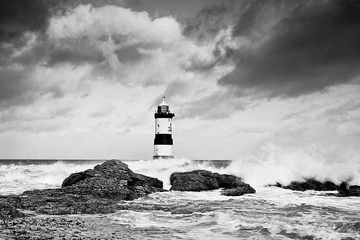 Stormy Seas Black and White by Christine Smart