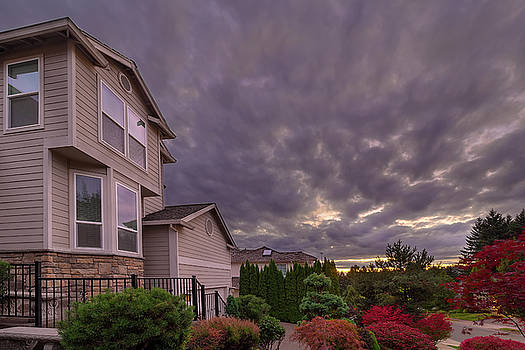 Stormy Sky over Homes in Suburban Neighborhood by Jit Lim