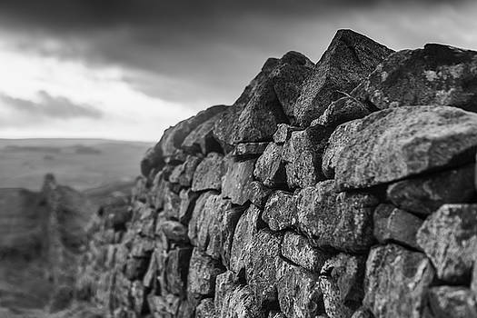 Stormy Stone Wall BW by David Taylor